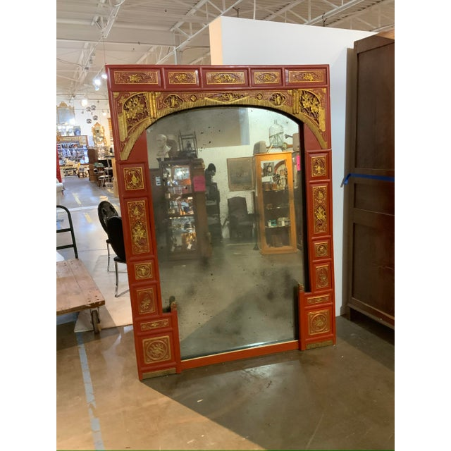 Vintage Chinoiserie Surround on Antiqued Mirror For Sale In Dallas - Image 6 of 7