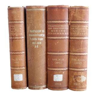 1912 Antique Leather Bound Engineering Books - Set of 4 For Sale