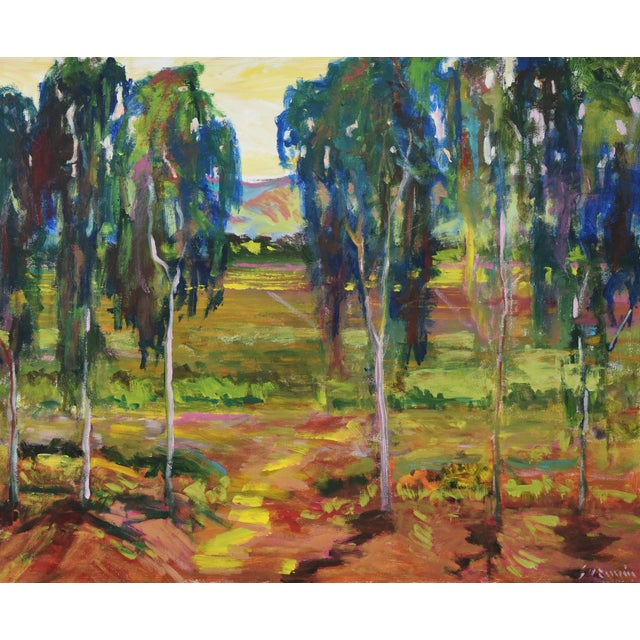 Juan Guzman Plein Air Santa Barbara Eucalyptus Grove Painting For Sale - Image 4 of 10
