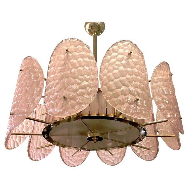 Light Pink Bespoke Italian Crystal Rose Pink Murano Glass Brass Chandelier / Flushmount For Sale - Image 8 of 8