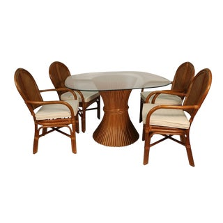Sheaf of Wheat Rattan Dining Table and Chairs For Sale