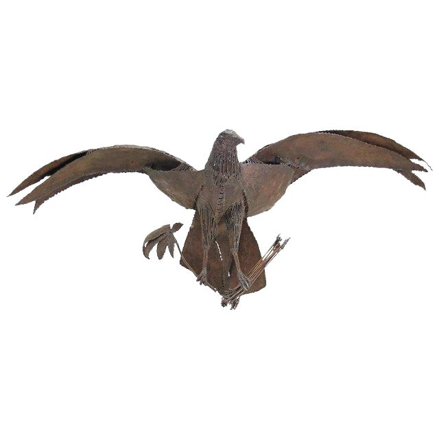 Late 20th Century Symbolic American Bald Eagle Pieced Steel Sculpture For Sale