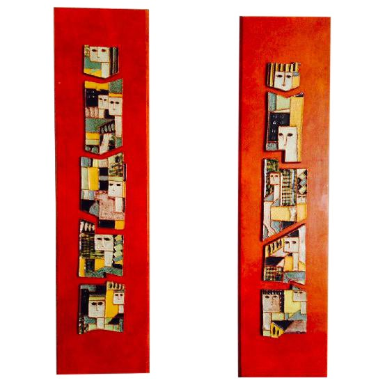 AMAZING PAIR OF MID- CENTURY HARRIS STRONG CERAMIC WALL PLAQUES For Sale