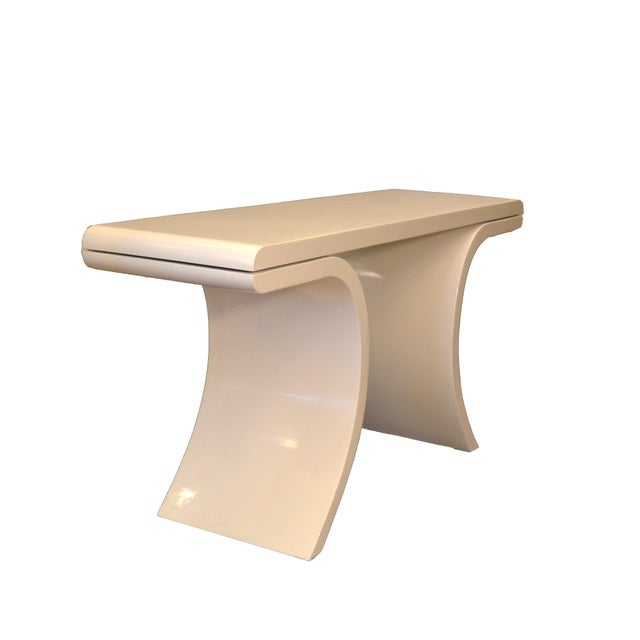 1970s Hollywood Regency White Lacquer Console Table With Curved Legs For Sale - Image 5 of 11