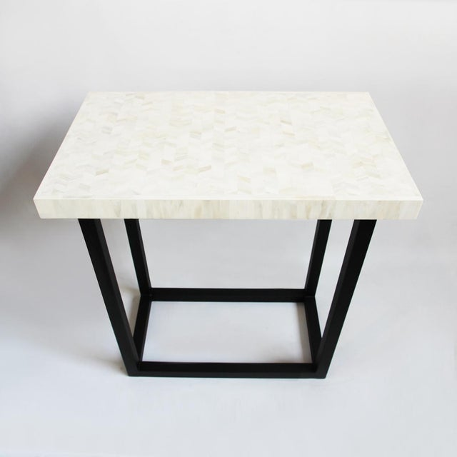Modern White Inlay Herringbone Short Console For Sale - Image 3 of 5