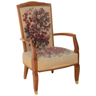 Fine Late Art Deco Mahogany Open Armchair in Original Tapestry, Jules Leleu For Sale