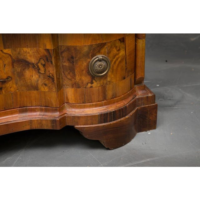 Brass 19th Century Italian Rococo Burl Walnut Slant Front Desk For Sale - Image 7 of 8