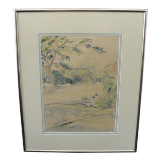 Vintage Watercolor Landscape Painting W/ Portrait on Reverse by Gregory Williams