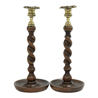19th Century English Oak Candlestick, a Pair For Sale