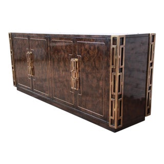 Bernhard Rohne for Mastercraft Hollywood Regency Brass and Burled Carpathian Elm Sideboard Credenza For Sale