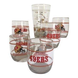 5 - Vintage San Francisco 49ers Lo-Ball Glasses and 1 - 1989 Super Bowl Champs Glass (6 Piece)