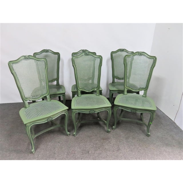 French Louis XV Custom Painted Caned Dining Chairs- Set of 6 For Sale - Image 3 of 8