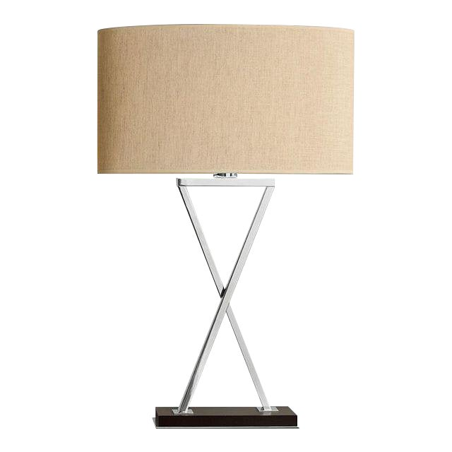 Polished Chrome Table Lamp on Wood (Tall Version) For Sale