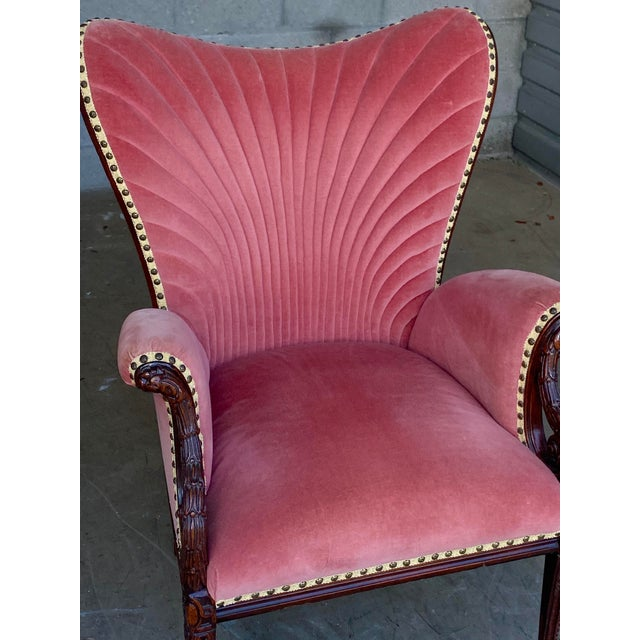 Vintage Pink Velvet High Back Chair For Sale - Image 4 of 10