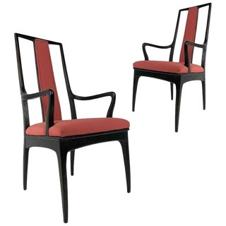 Pair of Sleek Mahogany Dining / Occasional Arm Chairs by John Stuart For Sale
