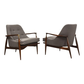Ib Kofod Larsen Style Grey Wool Lounge Chairs - a Pair For Sale