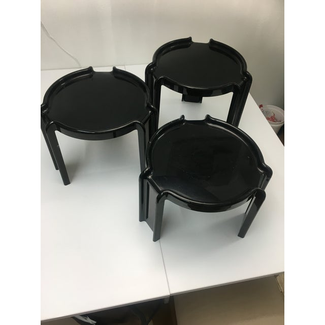 Vintage Black Plastic Nesting Tables by Giotto Stoppino for Kartell - Set of 3 For Sale In New York - Image 6 of 13