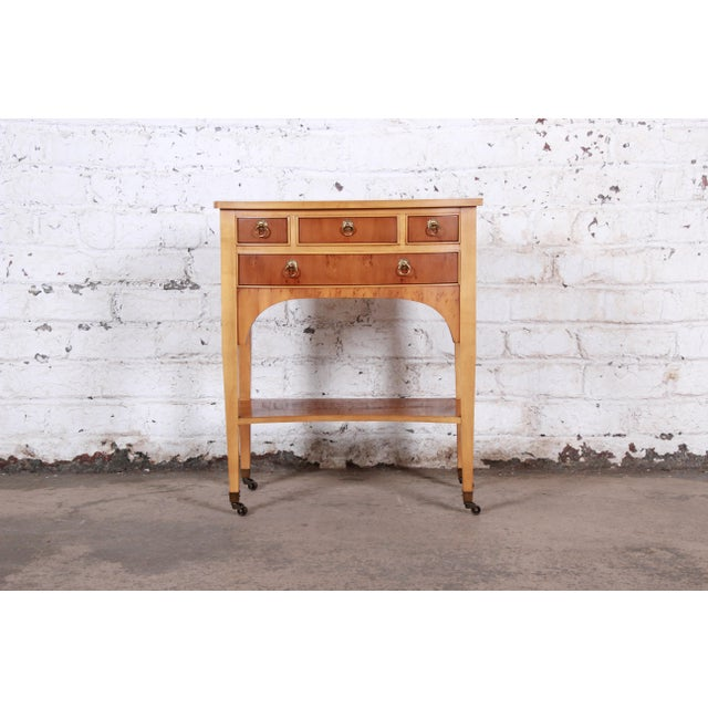 """Neoclassical burl wood and brass entry or side table Made by Baker Furniture Company USA, Late 20th Century Measures: 23""""W..."""
