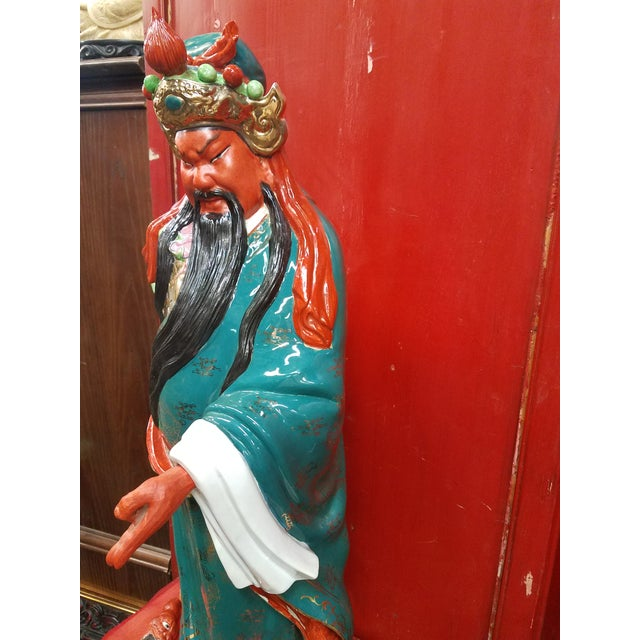 Mid-Century Chinese Porcelain Warrior Statue For Sale In Phoenix - Image 6 of 12