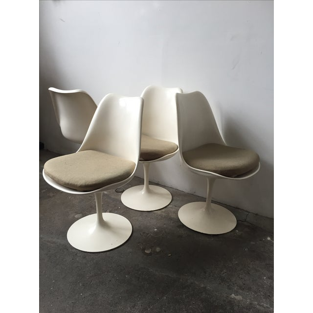 Knoll White Vintage Tulip Swivel Chairs - Set of 4 - Image 4 of 9