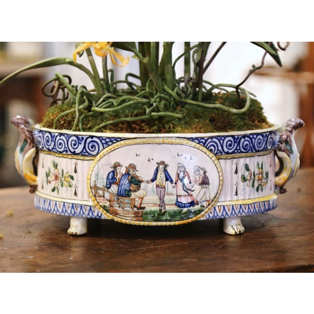 Complete your faience collection with this colorful antique cachepot from Brittany. Crafted in Quimper, France, circa 1880...