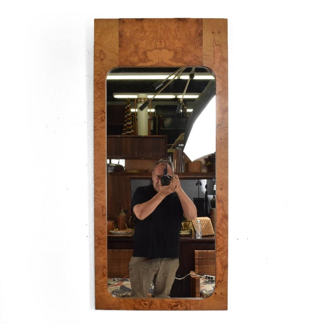 Mid-Century Modern Wall Mirror in Burl Wood For Sale - Image 10 of 11