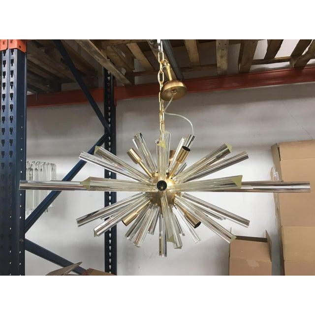 Metal Murano Glass Triedo Sputnik Gold Brushled Chandelier For Sale - Image 7 of 12