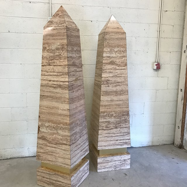 Monumental Faux Travertine Laminate Obelisks - A Pair For Sale - Image 9 of 11