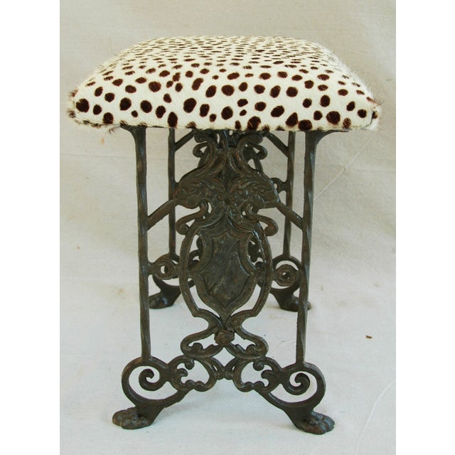 1930s Iron & Cheetah Spotted Cowhide Bench - Image 4 of 11