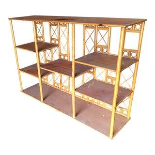 Restored Rattan Seven-Tier Tic-Tac-Toe Display Shelf Wall Unit For Sale