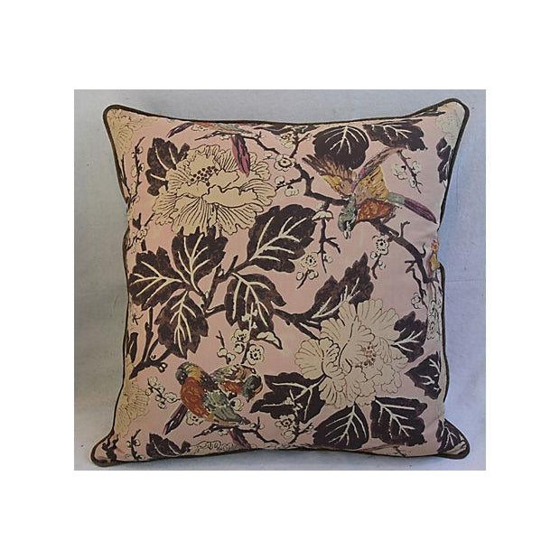 """Pair of large 26"""" square custom tailored chinoiserie pillows. Pillow fronts are a vintage/never used French hand-printed..."""