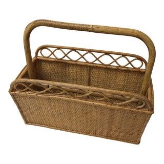 Vintage Bamboo and Rattan Magazine Holder For Sale
