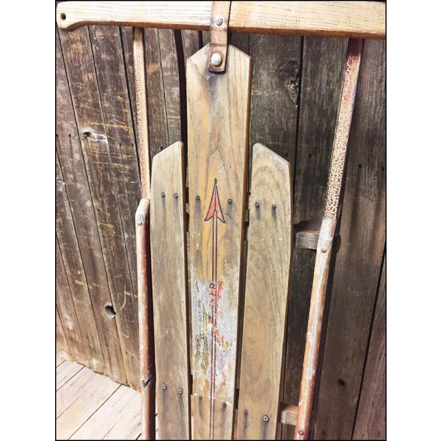 Vintage Weathered Wood & Metal Runner Sled -- Flexible Flyer Model 51J - Image 5 of 11