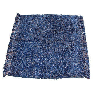 1970s Mid Century Modern Blue Knotted Rya Wool Shag Area Rug For Sale