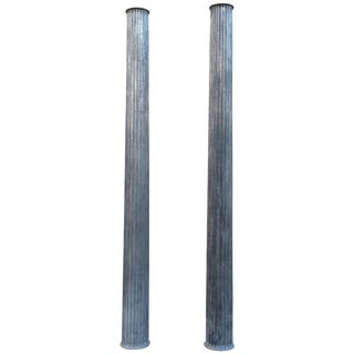 1920's Architectural Gunmetal Steel Fluted Columns-a Pair For Sale