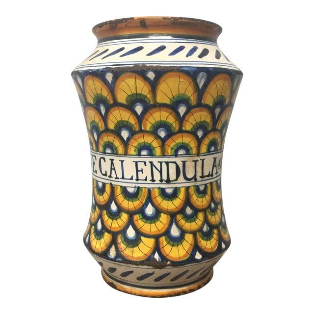 17th Century Italian Yellow Maiolica Pottery Albarello Drug Jar For Sale