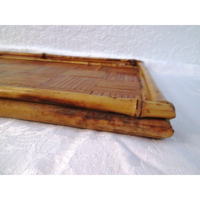 Vintage Tortoise Bamboo & Rattan Tray For Sale In West Palm - Image 6 of 7