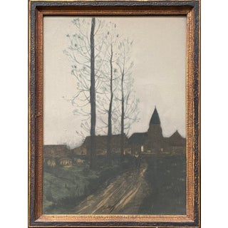 Late 19th Century European Village Landscape at Sunset with Figure Mixed-Media Painting, Framed For Sale
