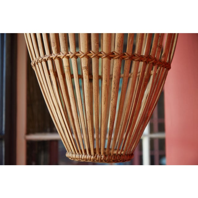 Rattan Hanging Pendant Lamp For Sale In Los Angeles - Image 6 of 9