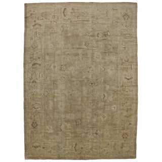 Modern Turkish Oushak Rug in Warm, Neutral Colors