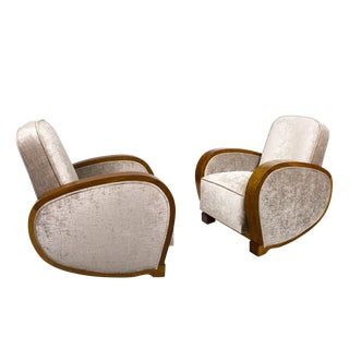 1930´s Pair of Art Deco Club Armchairs, Walnut, Velvet - France For Sale