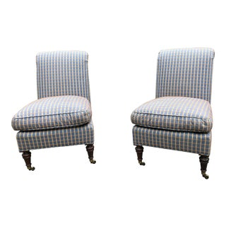 Lee Jofa Slipper Chairs - a Pair For Sale