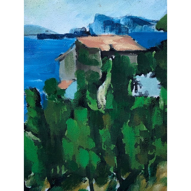 French Vintage French Painting Replica of the Bay of l'Estaque by Cezanne For Sale - Image 3 of 6