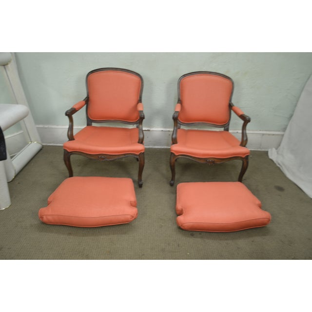 French French Louis XV Style Custom Quality Pair of Fauteuils Arm Chairs For Sale - Image 3 of 13