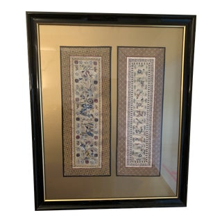 Chinese Framed Embroidered Silk Panels For Sale