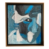 Image of Vintage Mid Century Modern Abstract Head Portrait Oil Painting by Edelman For Sale