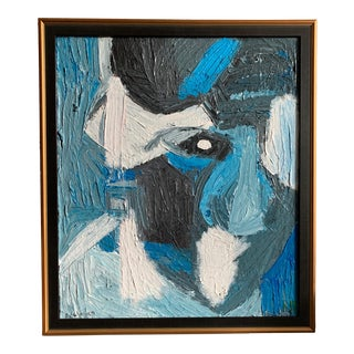 Vintage Mid Century Modern Abstract Head Portrait Oil Painting by Edelman For Sale