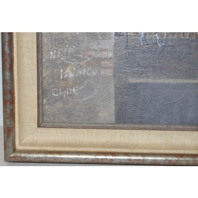 Canvas Inner City Basketball Court Oil Painting c.1970s For Sale - Image 7 of 9