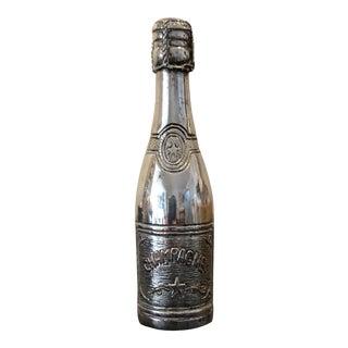 Mod Pop Art Italian Silver Champagne Bottle For Sale