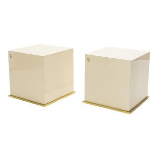j.c Mahey Lacquer and Brass Cube End Tables 1970s - A Pair For Sale